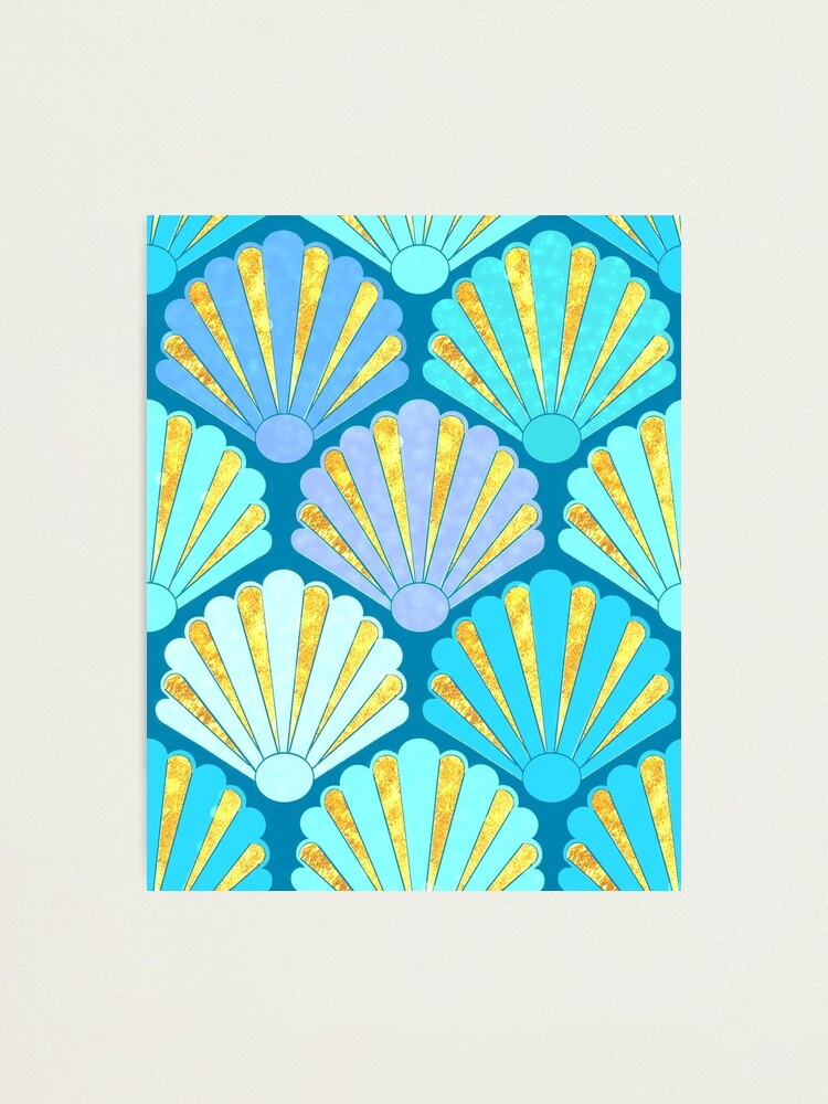 Alternate view of Art Deco Shell Fans in blue, teal, turquoise & gold fit for a mermaid! Photographic Print