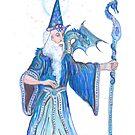 Blue Wizard With Dragon by Stephanie Small