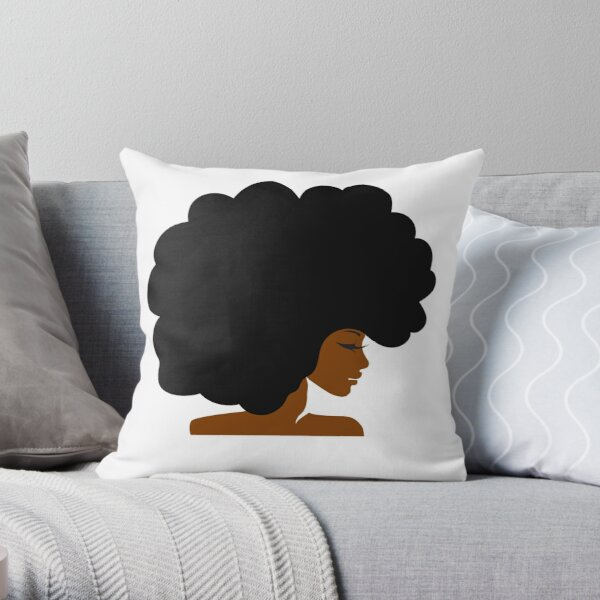 Big Curly Afro Natural Hair Black Woman Throw Pillow