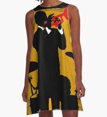 NEW ORLEANS;Vintage Mardi Gras Samba Orpheus Print A-Line Dress