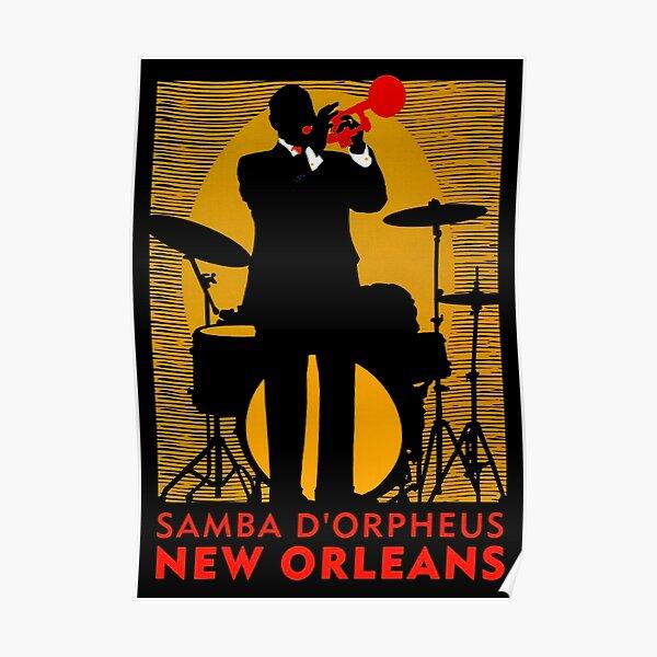 NEW ORLEANS : Vintage Mardi Gras Samba Orpheus Print Poster