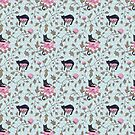 Cats climbing on floral pattern by Andreea Dumez