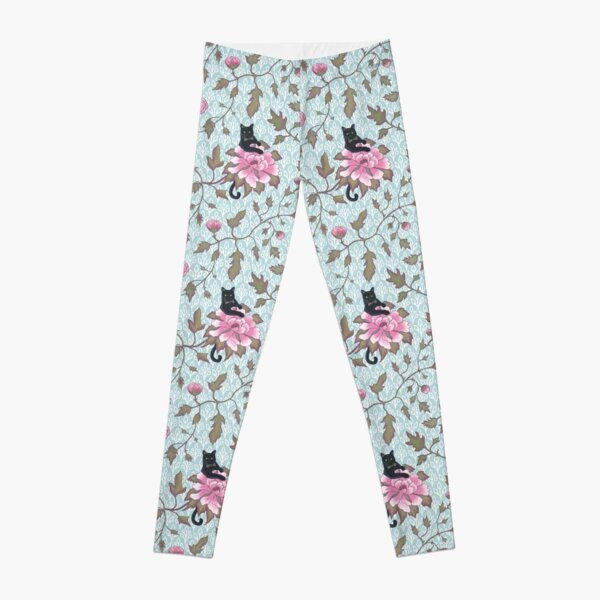 Cats climbing on floral pattern Leggings
