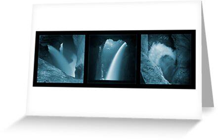 Trümmelbachfälle, in cyan (triptych) by Lenka