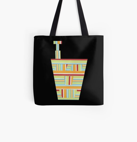 Stripped Engineering (Facemadics colorful contemporary abstract face) All Over Print Tote Bag