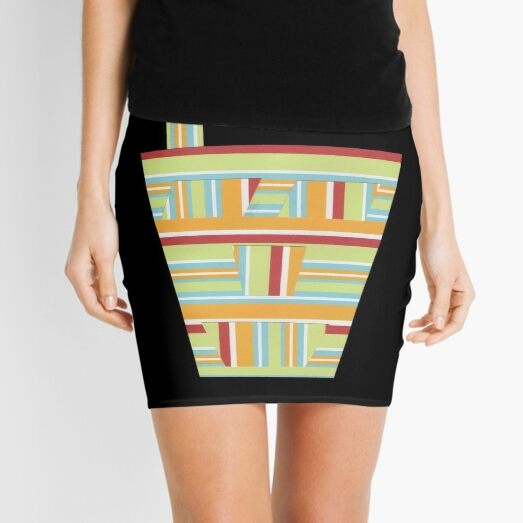 Stripped Engineering (Facemadics colorful contemporary abstract face) Mini Skirt