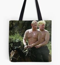 Trump And Putin Riding Horse Meme Tote Bag