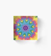 Retro Psychedelic Rainbow Dots Mandala Acrylic Block