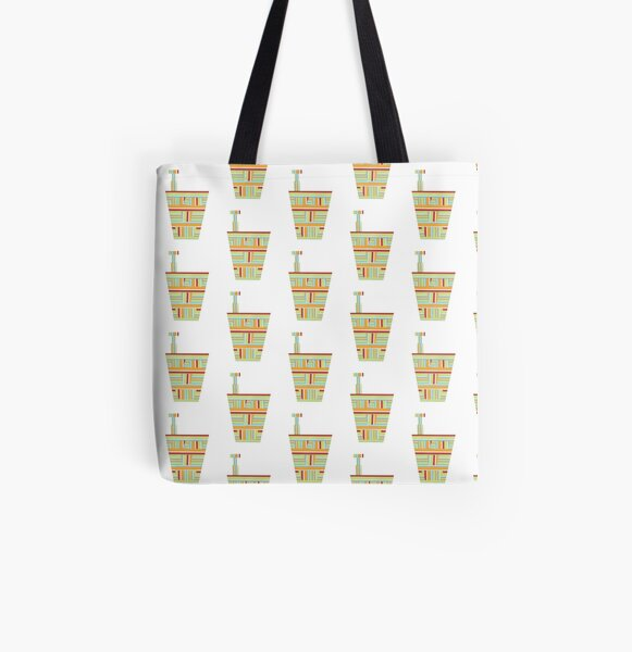 Stripped Engineering Repeat (Facemadics abstract face colorful face) All Over Print Tote Bag