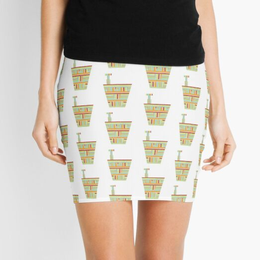 Stripped Engineering Repeat (Facemadics abstract face colorful face) Mini Skirt