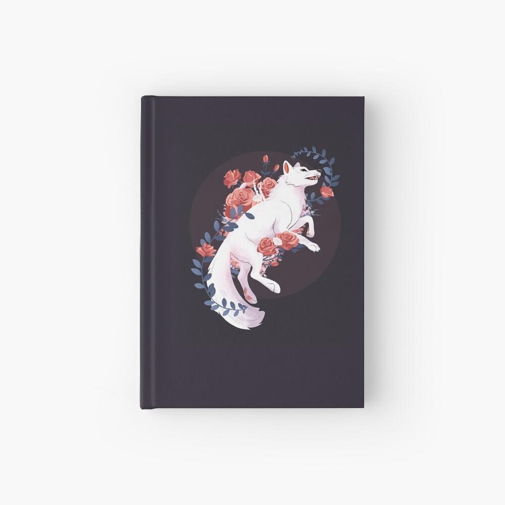 White Flower Wolf Hardcover Journal