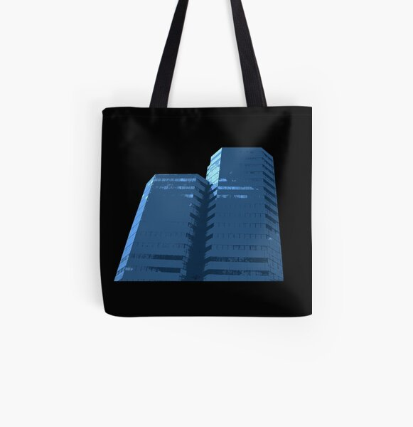 Blue Groovy Gray (Facemadics colorful abstract photography) All Over Print Tote Bag