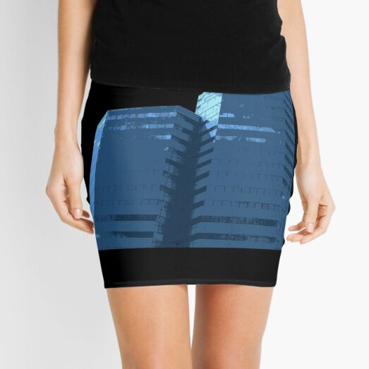 Blue Groovy Gray (Facemadics colorful abstract photography) Mini Skirt