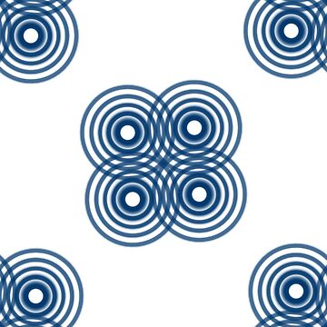 Blue and White Geometric Circles by Veata