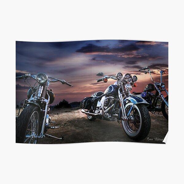 Harley Davidson beau coucher de soleil Poster