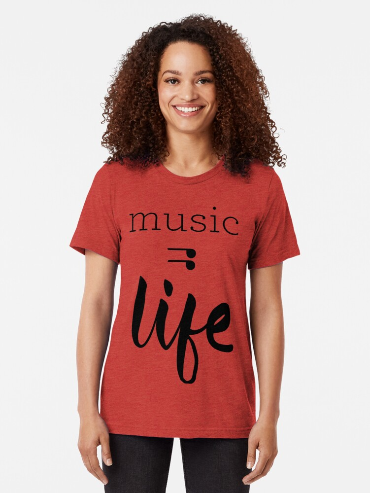 Alternate view of Music = Life Graphic Tri-blend T-Shirt