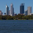 Lake Monger with Perth W.A. in the background. by Sandra Chung