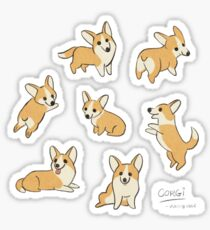 Playful Corgi Sketches Sticker