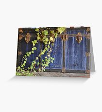 Ivy Green and Antique Trunk Blue Greeting Card