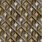 Art deco golden peacock feathers by camcreativedk