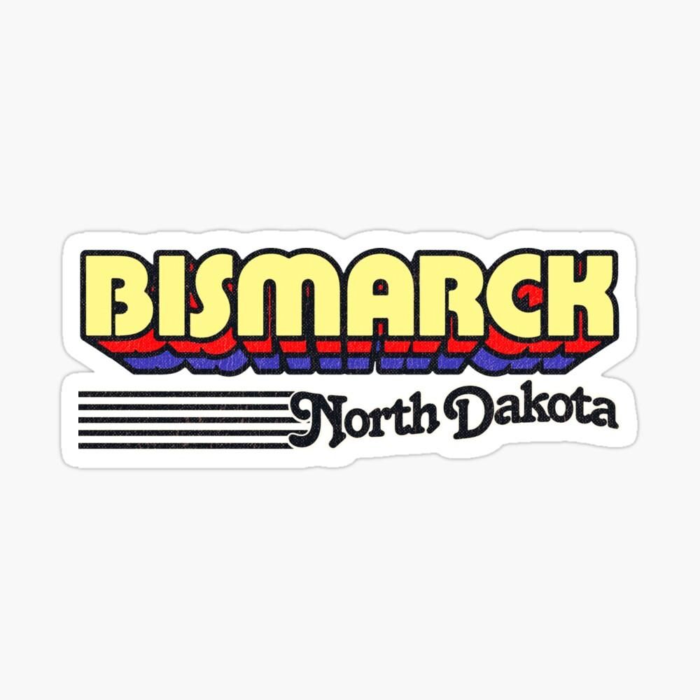 Bismarck, North Dakota   Retro Stripes Sticker