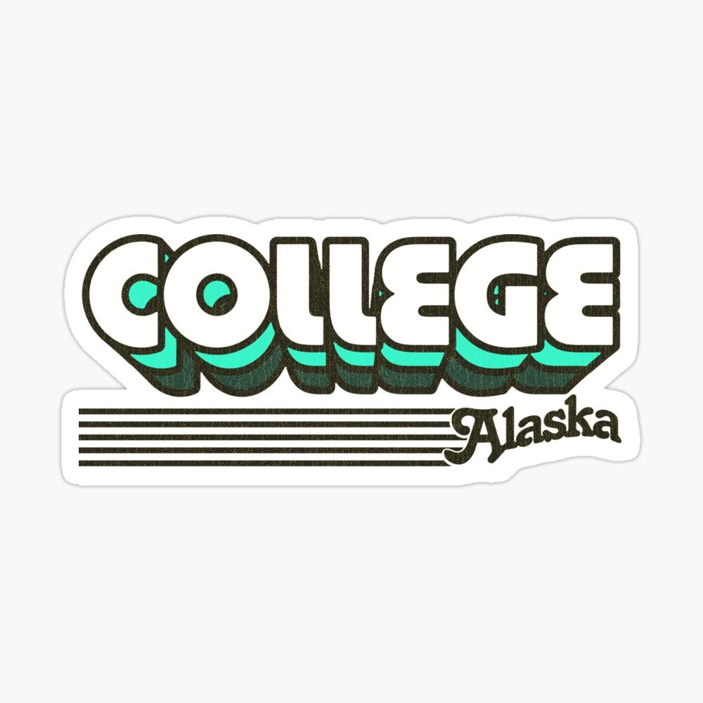 College, Alaska | Retro Stripes Sticker