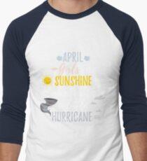 APRIL Girls Sunshine and Hurricane Birth Month Men's Baseball ¾ T-Shirt