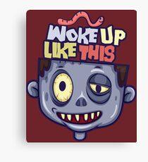 Funny Woke Up Like This Zombie Sleepy Head Halloween Canvas Print