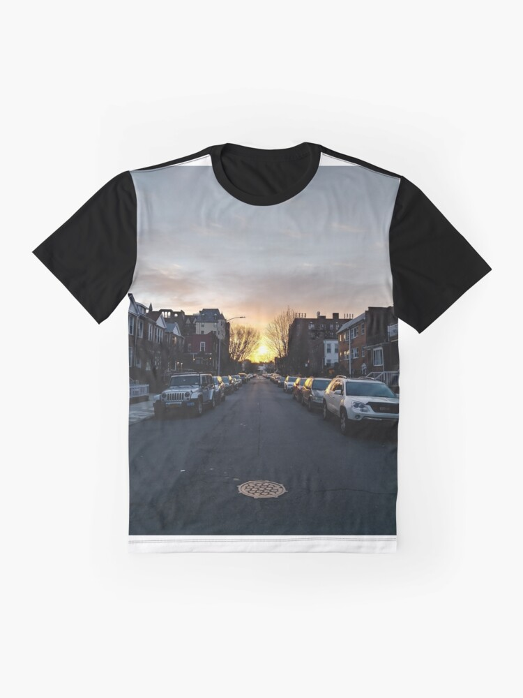 Alternate view of New York, Manhattan, Brooklyn, New York City, architecture, street, building, tree, car,   Graphic T-Shirt