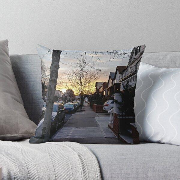 New York, Manhattan, Brooklyn, New York City, architecture, street, building, tree, car,   Throw Pillow
