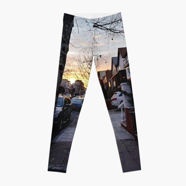 New York, Manhattan, Brooklyn, New York City, architecture, street, building, tree, car,   Leggings