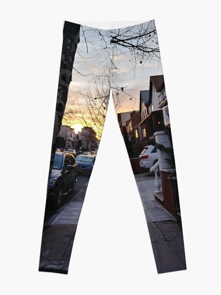 Alternate view of New York, Manhattan, Brooklyn, New York City, architecture, street, building, tree, car,   Leggings