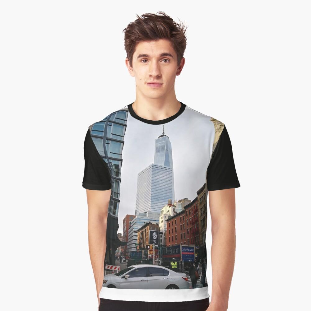 New York, Manhattan, Brooklyn, New York City, architecture, street, building, tree, car,   Graphic T-Shirt Front