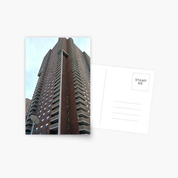 Condominium, New York, Manhattan, Brooklyn, New York City, architecture, street, building, tree, car,   Postcard