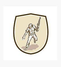 American Soldier Serviceman Armalite Rifle Cartoon Photographic Print