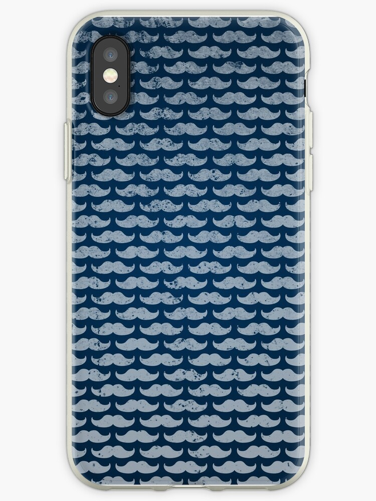 blue moustache pattern by Fuchs-und-Spatz