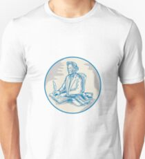 Victorian Gentleman Quill Signing Cartoon Unisex T-Shirt