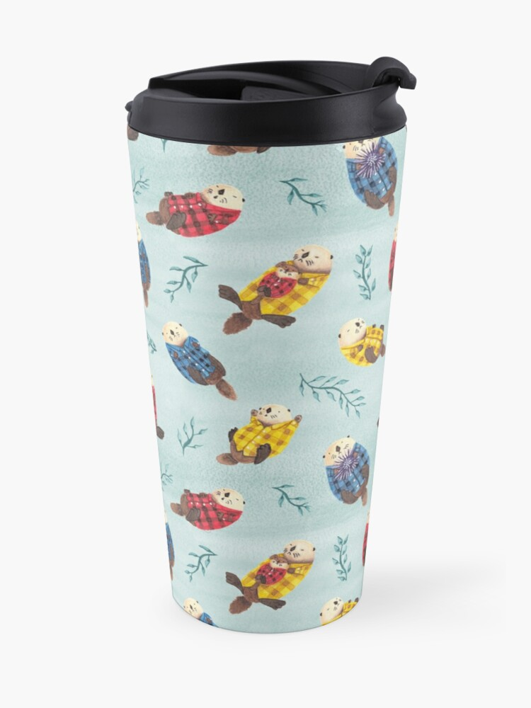 Alternate view of Sea Otters Wearing Plaid Travel Mug