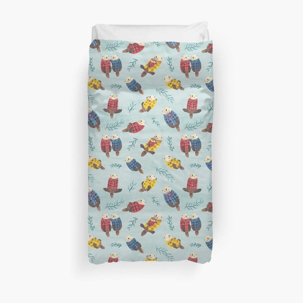 Sea Otters Wearing Plaid Duvet Cover