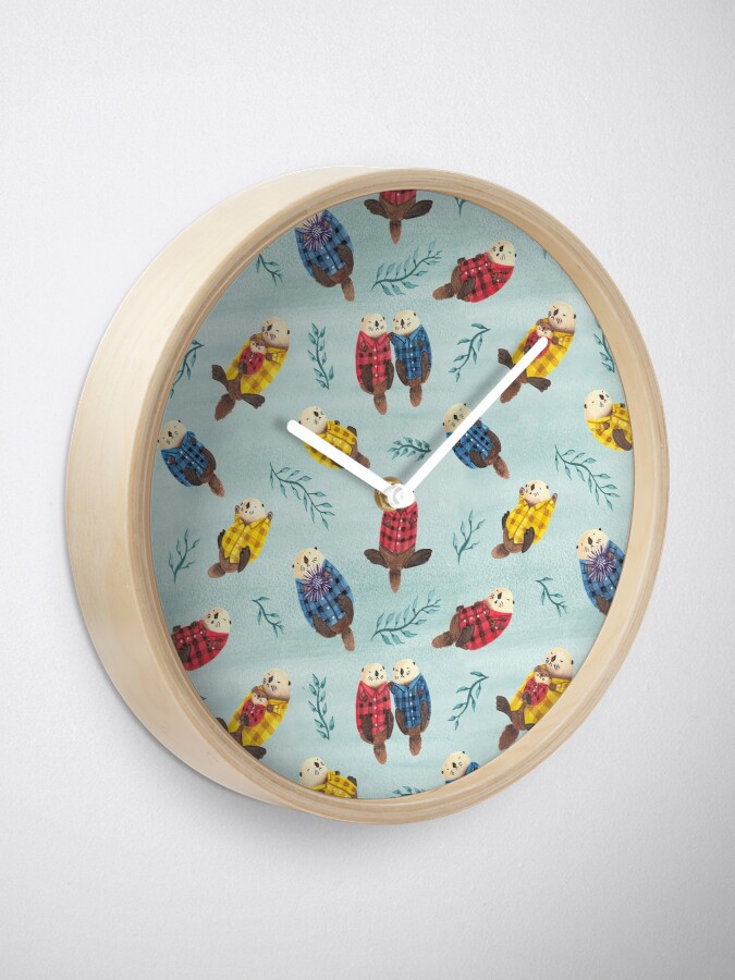 Alternate view of Sea Otters Wearing Plaid Clock