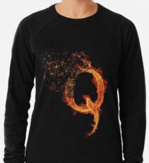 QAnon Fiery Q For Conspiracy  Lightning Theorist T-Shirt by Scralandore Design Lightweight Sweatshirt