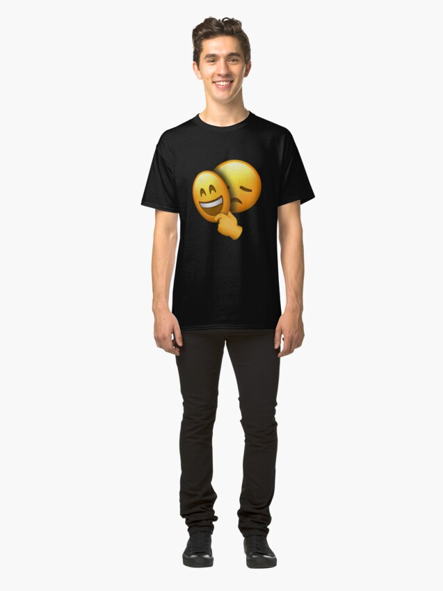 """Emoji - Sad Face under Happy Mask"" T-shirt by hyperdeath ..."
