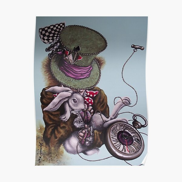 Twisted In Time, Hatter and white rabbit Poster
