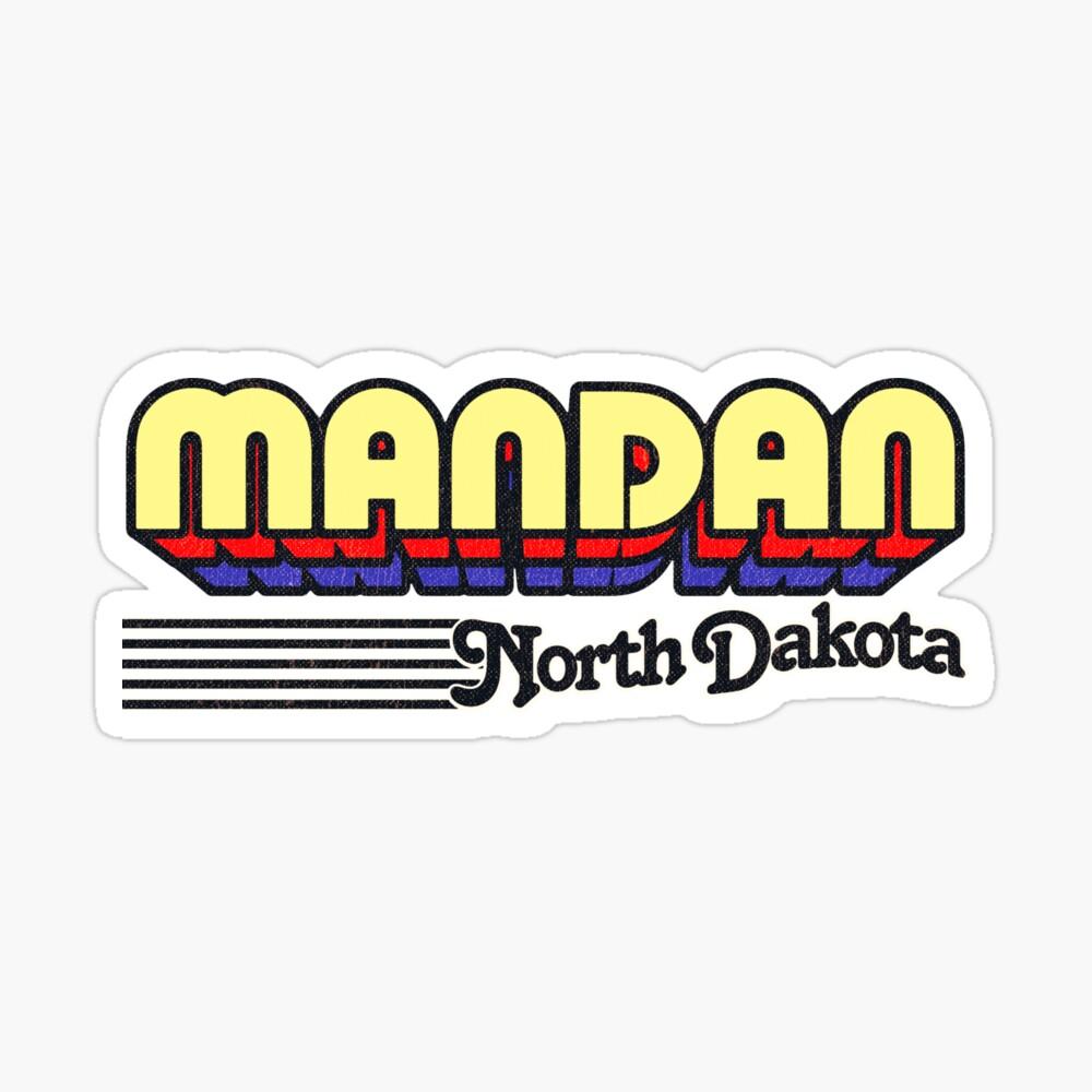 Mandan, North Dakota   Retro Stripes Sticker