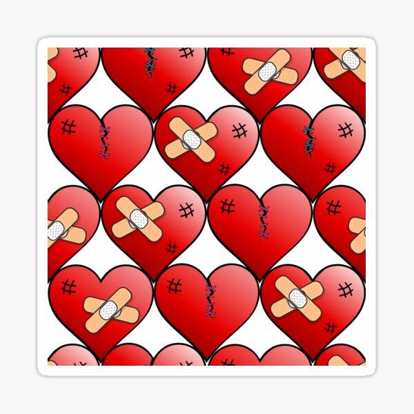 broken hearts pattern on white Sticker