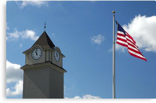 Clock Tower &  US Flag  - Jackson Outlet Mall - Jackson NJ - 1 by Paul Gitto