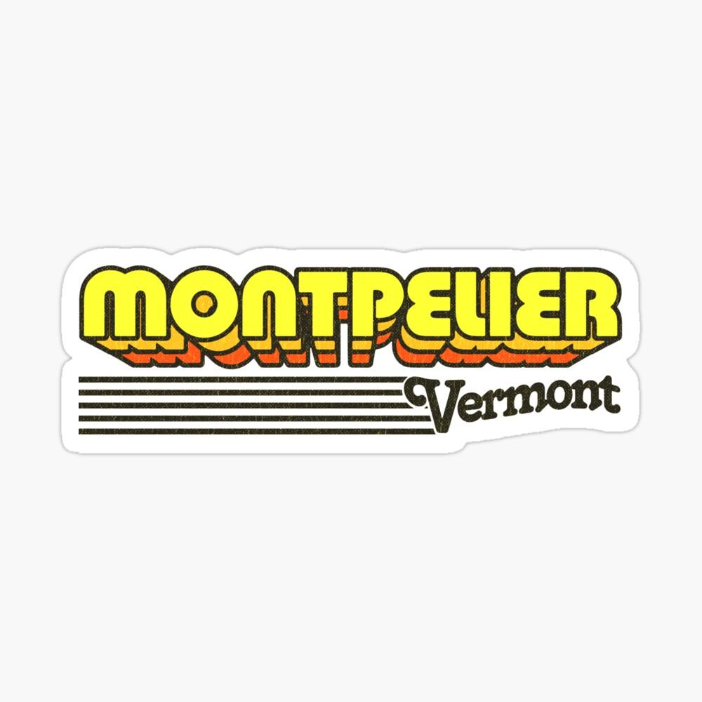 Montpelier, Vermont   Retro Stripes Sticker