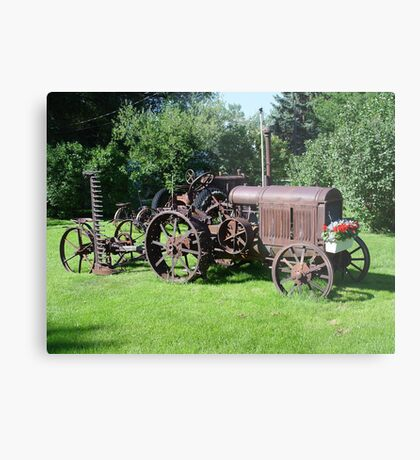 Old Tractor with mower and flowers Metal Print
