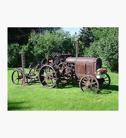 Old Tractor with mower and flowers Photographic Print