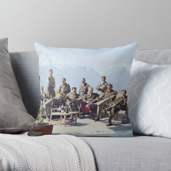 Dick Winters and his Easy Company (HBO's Band of Brothers) lounging at Eagle's Nest, Hitler's former residence in the Bavarian Alps, 1945.  Throw Pillow